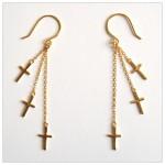 3 Cross Dangling Vermeil Earrings