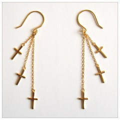 3 Cross Dangling Vermeil Earrings