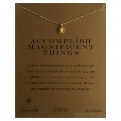 "Accomplish Necklace Starburst Charm Gold 15"" Custom"