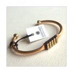 Hematine Gold Bead Brass Cuff Bracelet