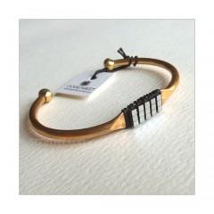 Hematine Silver Bead Brass Cuff Bracelet