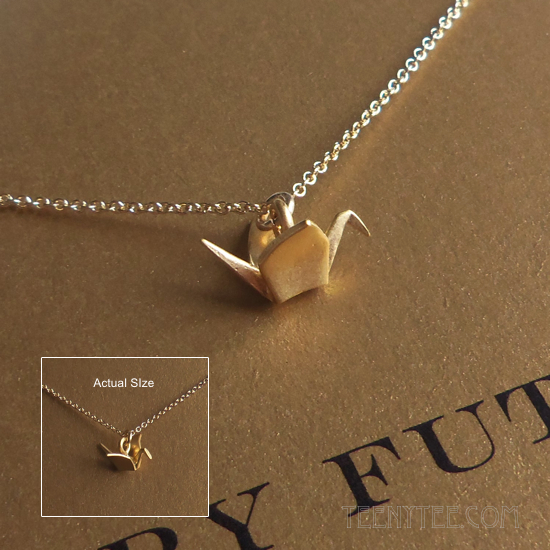 origami crane gold charm necklace boxed