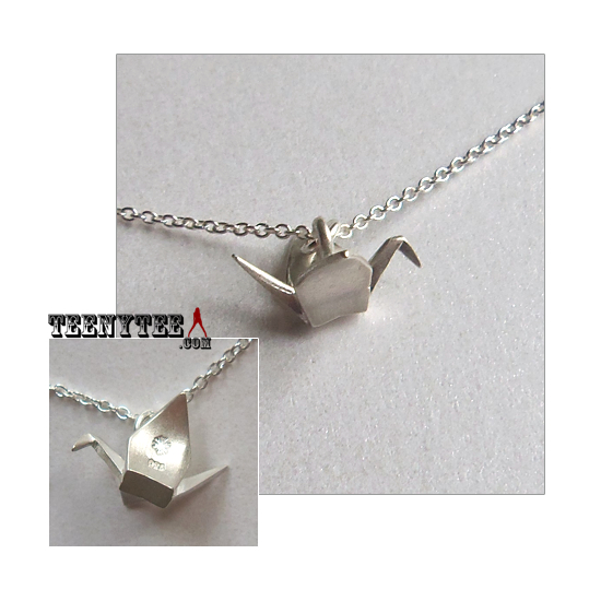 origami crane sterling silver charm necklace boxed