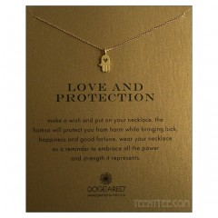 Heart Hamsa Gold Charm Love and Protection Necklace