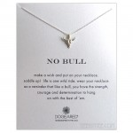 Bull Skull Charm NO BULL Necklace Silver