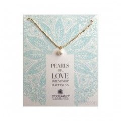 Potato Pearl and Gold Ball Chain Necklace