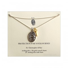 St. Christopher & Key charms Protect Your Journey Necklace