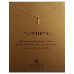 Thin Gothic Cross Faithful Necklace Gold
