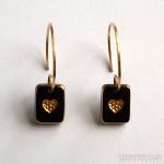 Black & Gold Little Heart Earrings