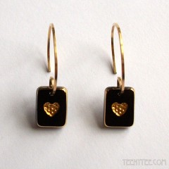 Black & Gold Little Heart Earrings