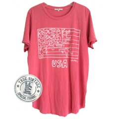 Keith Haring USA Shirt Tail Crew Neck T