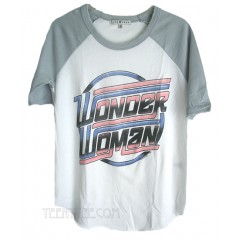 Wonder Woman Logo Color Block Short Raglan T