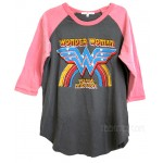 Wonder Woman Color Block Raglan T Destroyed Finish