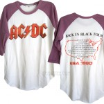 ACDC Back In Black Tour Destroyed Color Block Raglan T