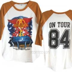 Aerosmith On Tour 84 Destroyed Finish Color Block Raglan T
