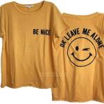 Be Nice or Leave Me Alone Ex Boyfriend T-shirt Flocking Print