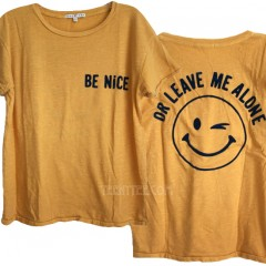Be Nice or Leave Me Alone Ex Boyfriend T-shirt Flocking Print