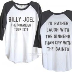 Billy Joel Tour 1977 Color Block Backstage Raglan T