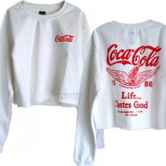 Coca Cola 1886 Cropped Boxy Sweat shirt with Soft Fleece