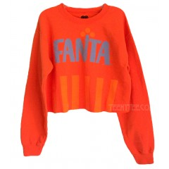 FANTA Cropped Boxy Sweat shirt with Soft Fleece
