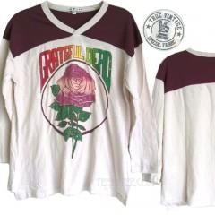 Grateful Dead Vintage Rose Varsity V-Neck Raglan T-shirt