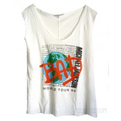Michael Jackson BAD Back Stitch Cut Off Easy Muscle Tank