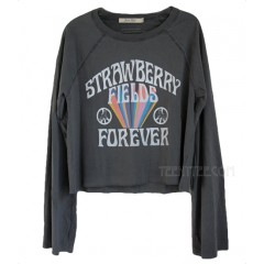 The Beatles Strawberry Fields Forever Flared Bell Sleeve Cropped T