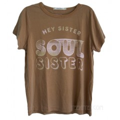 HEY SISTER SOUL SISTER 70's Lyric Classic Fits Crew T-shirt Destroyed