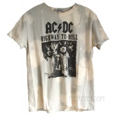 ACDC Vintage Style Tie Dye T-shirt Destroyed Finish Relaxed Fits