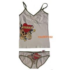 Ed Hardy Shelf Bra Camisole & Bikini Set SKULL