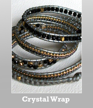Nakamol Chicago 5 wrapped up crystal, glass & seed beads bracelet with leather
