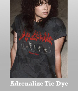 Junk Food DEf Leppard Adrenalize 1992 black tie dye t-shirt for women