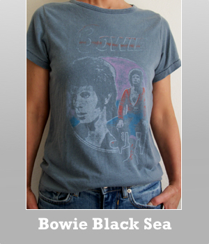 Junk Food David Bowie vintage wash black sea color trunk cotton t-shirt for women