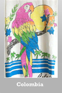 Junk Food Colombia Parrot destroyed destination t-shirt for women.