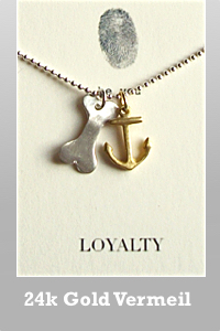 b.u. gold vermeil anchor and sterling silver dog bone charm ball chain necklace
