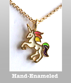 Dogeared hand enameled Unicorn charm The Sparkle is real necklace