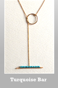 Chibi Jewels Turquoise gem bar 14K gold filled lariat necklace.