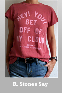 Junk Food The Rolling Stones Hey You! Get off of my cloud Lyric t-shirt vintage finish for women.