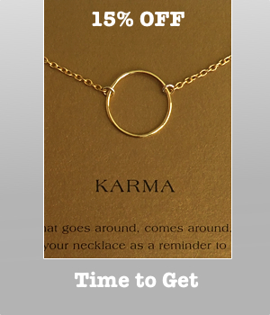 Dogeared Gold Dipped Large Smooth Karma with Gold Cable Chain is SALE