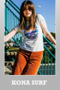 Junk Food Kona Surf Hawaii 1979 vintage Destroyed finish Destination T-shirt for women.