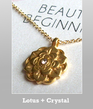 Dogeared Lotus with crystal Beautiful Beginnings necklace.