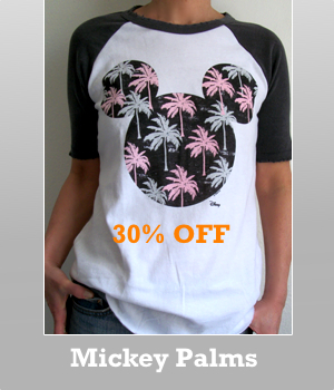 Mickey Mouse color block short raglan Palm t-shirt is now 30% off sale. Please see other Sale items.