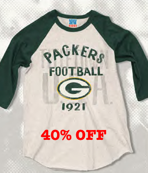 All NFL Junk Food Rookie Raglan t-shirts are 40% off.