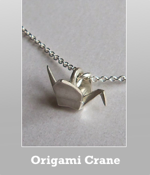 Dogeared Origami crane 16 inches chain necklace. Come with Happy future card. Gold dipped or sterling silver version.