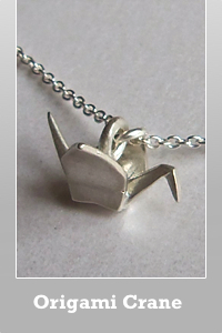 Dogeared Sterling silver or gold dipped Origami crane charm necklace