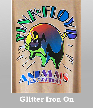 Junk Food Pink Floyd Animals silver glitter iron on print t-shirt for women.