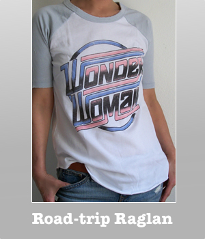 Wonder Woman Letter Logo Short raglan sleeve Road trip t-shirt