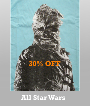 All Junk Food Star Wars t-shirts for Men are 30% off.