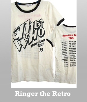 Junk Food The Who American Tour '75 Ringer the retro T-shirt for women.