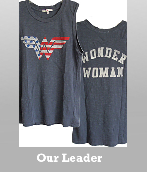 Junk Food Wonder Woman US Logo Destroyed muscle tank for women.